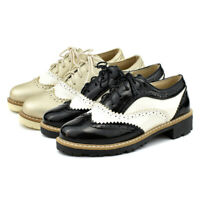 Women Flat Heel Wingtip Lace Up Vintage Oxford Shoes Brogues Derby Saddle Shoes