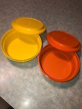 Vintage Tupperware Bowl Lot Of 2 Seal N Serve W Lids Harvest Orange Yellow