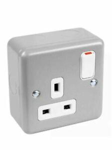 MK K2977 ALM 13A 1G DP Switch Plug Socket Metalclad - Aluminium & Back Box