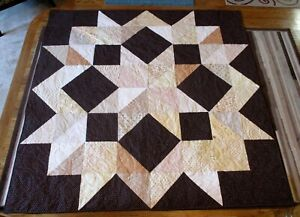 """New USA Hand Made Full/Twin Size Quilt - Carpenter's Star Patchwork 73"""" x 73"""""""