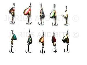 10 x Spinner Lures - Mackerel Bass Pike Perch Trout Fishing