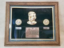 John F Kennedy (JFK) Framed Plaque Bust w/2 Gold Plated Half Dollar Ruby Emerald