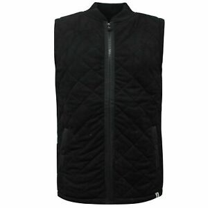 Pony Mens Suede Gilet Sleeveless Quilted Vest Jacket Black PY6 L