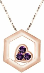 Simulated Amethyst Hexagons Heart Pendant Necklace In 14K Gold Over Silver 925