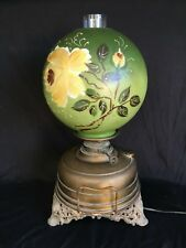 Victorian Oil Lamp Wright & Butler Lampe Veritas Floral & Green Shade c. 1890