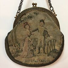 VTG Frame Purse Made In France Tapestry Handbag Chain Handle Kiss Clasp Couple