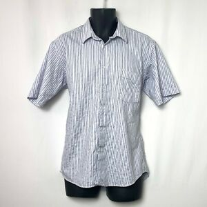 Ted Lapidus Mens SS Button Up Lavender Shirt w Black and White Stripes Pkt Sz L