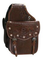 Showman MEDIUM OIL Tooled Leather Saddle Bag w/ Genuine Cowhide Cut Out Stars!!!