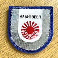 """ASAHI JAPANESE BEER vintage sew-on patch MADE IN JAPAN Rising Sun Logo 3.25"""" in."""