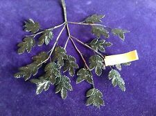 Vintage Millinery Flower Black Fern Leaf Spray with light Lacquer Brittle iY12