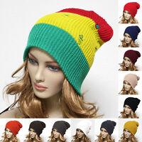 Men Women Distress Fashion Beanie Cap Knit Baggy Slouchy Ski Casual Sports Hat