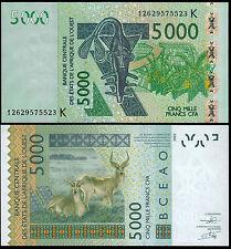 WEST AFRICAN STATES 5000 FRANCS (P717K) 2003 (2012) SENEGAL UNC