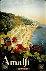 Amalfi vintage Italian train travel poster repro 24x36
