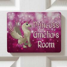 Personalised Pink Unicorn Girl Children Bedroom Door Kids Name Sign Plaque DP019