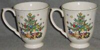 Set (2) Nikko HAPPY HOLIDAYS PATTERN Christmas Tree 10 oz HANDLED MUGS
