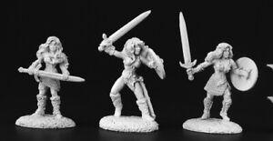 Reaper Miniatures Female Barbarians (3 Pcs) #03448 Dark Heaven Unpainted Metal