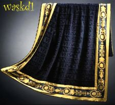 VERSACE navy Signature terry Gold BAROQUE border BEACH blanket Towel NWT Authent