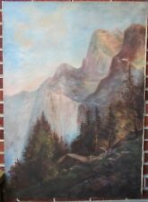 Antique HUGE North CAROLINA MOUNTAINS Pines Overlook Oil PAINTING  c1910-20s ART