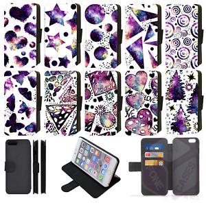 GALAXY & INK UNIVERSE Wallet Flip Phone Case iPhone 4/5/6/7/8/X/XS/XR/xs Max