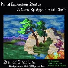 STAINED GLASS LITE 100 Pieces PANED EXPRESSIONS CD Pattern Book + BONUS