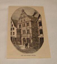 1884 magazine engraving ~ Rat-Piper'S House, Hameln, Germany