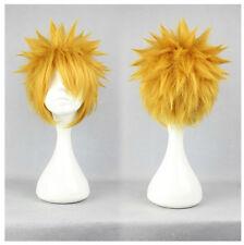 Uzumaki Naruto Golden Blonde Short Flip Out Costume Man Cosplay Wig + Free Net