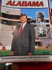 Great Alabama Crimson Tide  ALABAMA 1988 Game Program vs. VANDERBILT