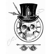 """Stempel """"Squelette Grunge"""" Katzelkraft, Totenkopf vor Uhr, Brille mit Augen"""