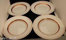 Set of 4 Royal Copenhagen White Gold Orange Rimmed Soup Bowl 22cm  Denmark AS-IS