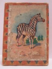Old Miniature Christmas / Toy Gift Box w/ Zebra Animal Lithograph Label