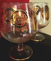 Gold Beer Collectors Pabst Blue Ribbon Glass Set of 2 Vintage Mint