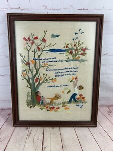Vintage 1973 Wood Framed Crewel Embroidery Sampler Under Glass