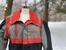 Vtg Mens Large Polaris Jacket Snowmobile Winter Coat Black Red Grey Nylon USA