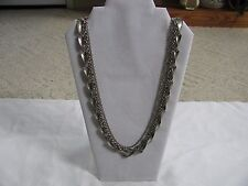"VINTAGE SILVER TONE 3 ROW CHAIN LINK NECKLACE 30"" LONG"