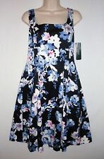NWT $129 - LAUREN RALPH LAUREN Spring Floral Sateen Dress, Navy Multi, Size 10