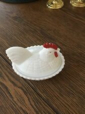 Vintage Milk Glass Rooster Chicken on Nest Candy Trinket Dish