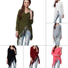 Damen Strickjacke Cardigan Pullover Asymmetrisch Sweatshirt Poncho Fransen LP