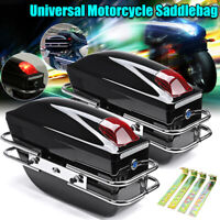 Pair LED Motorcycle Side Pannier Box Luggage Tank Hard Case Saddle Bags