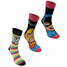 DC Comics Womens 3 Pack Crew Socks Footwear Accessories Ladies