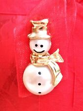 Christmas Holiday Gold Tone SNOWMAN Hat Brooch Pin