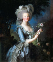 Oil painting  young noble lady portait holding roses flowers  Marie Antoinette