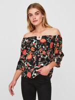 Vero Moda Womens Black Vibrant Floral Off Shoulder Bardot 3/4 Sleeve Blouse XS-L