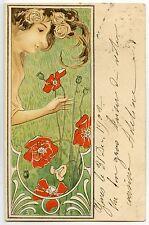 """Raphaël kirchner - Femme dans un décor Floral Art-Nouveau - """"les Coquelicots"""""""