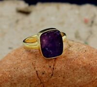 Rough Amethyst Gemstone Gold Plated Engagement Ring 925 Sterling Silver Jewelry