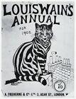 Louis Wain print TIGER STRIPE CAT COVER ILLUSTRATION funny cat art