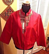 Magaschoni Pink 100% Silk Jeweled Embellished Jacket - Size Small