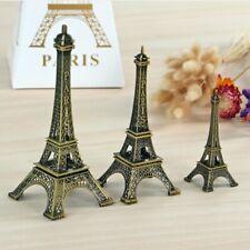 Metal Alloy Bronze Tone Paris Eiffel Tower Figurine Statue Vintage Model Decors