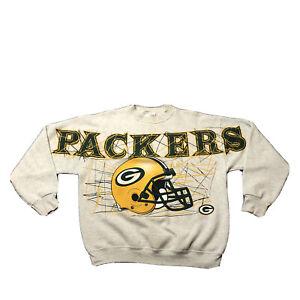 VTG 90s Green Bay Packers NFL Football Spell Out Gray Crewneck Sweatshirt Sz XL