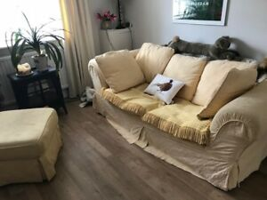 DOUBLE SOFA BED METAL ACTION 100% COTTON YELLOW WITH CUSHIONS