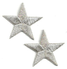"""STARS-Silver Metallic-2 3/8"""" (2 Pieces) Iron On Embroidered Applique Patch"""